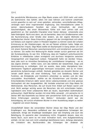12+1 Der persönliche Mikrokosmos von Olga Maslo erwies sich ...