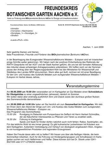 2/2009 - Freundeskreis Botanischer Garten Aachen