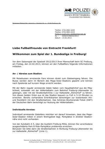 Fanbrief der Freiburger Polizei - Eintracht Frankfurt e.V.