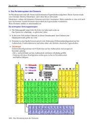 Physik EI01 Atomphysik Seite 4. Das Periodensystem der Elemente ...
