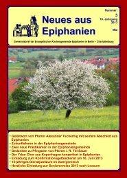Mai 2013 - erreichen Sie die aktuelle Seite der Epiphaniengemeinde.