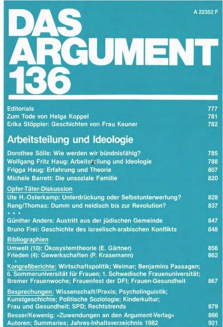 Arbeitsteilung und Ideologie - Berliner Institut für kritische Theorie eV