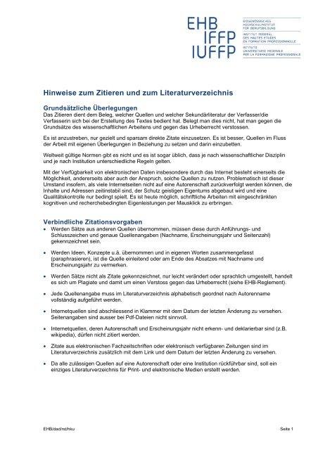 Hinweise Zum Zitieren Und Zum Literaturverzeichnis Ehb