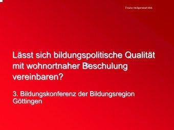 Vortrag von Frauke Heiligenstadt - Bildungsregion Göttingen