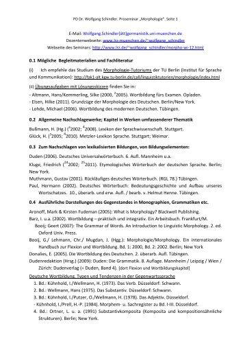 Das Seminarhandout (pdf) - PD Dr. Wolfgang Schindler