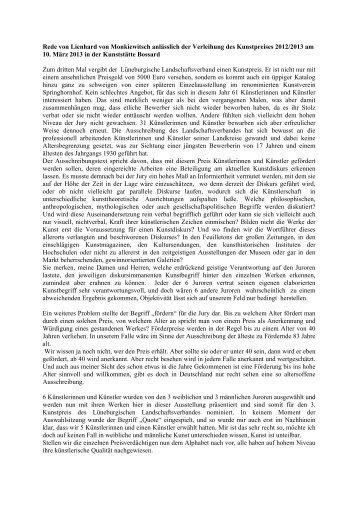 Rede von Lienhard von Monkiewitsch anlässlich der Verleihung des ...