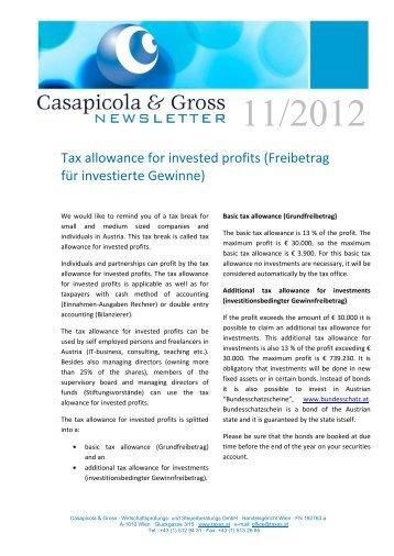 Tax allowance for invested profits (Freibetrag für investierte Gewinne)