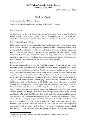 Predigt von Dawid Pasz beim Gustav-Adolf-Fest - Kirchenbezirk ...