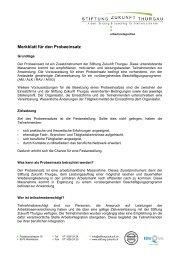 Probeeinsatz - Stiftung Zukunft Thurgau