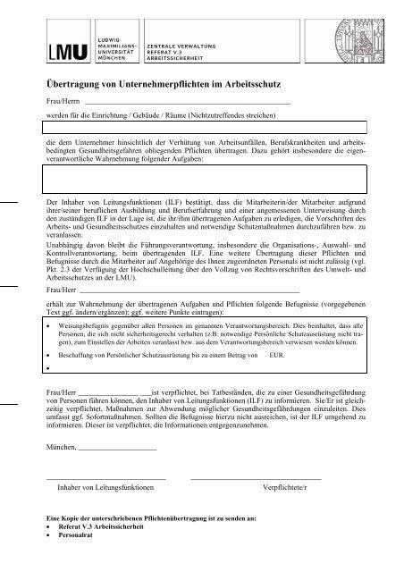 Formular Zur Ubertragung Von Unternehmerpflichten Im Arbeitsschutz