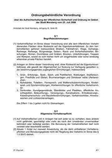 Ordnungsbehördliche Verordnung über die ... - Marsberg