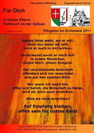 Pfarrbrief von Pfingsten bis Erntdank 2011 - Pfarramt Rohrbach an ...