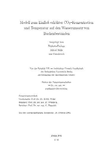 Modell zum Ein u erh hter CO2-Konzentration und Temperatur auf ...