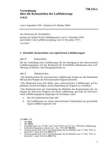 Verordnung vom 6. September 1984 über die ... - admin.ch