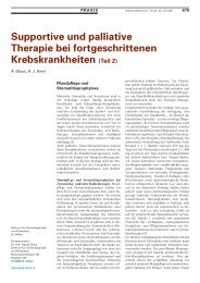 Supportive und Palliative Therapie bei fortgeschrittenen ...