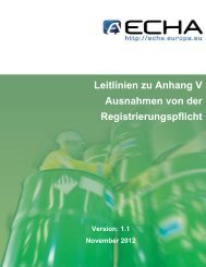 Leitlinien für Anhang V - ECHA - Europa