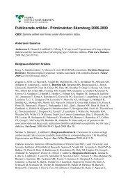 Publicerade artiklar - Primärvården Skaraborg 2006-2009
