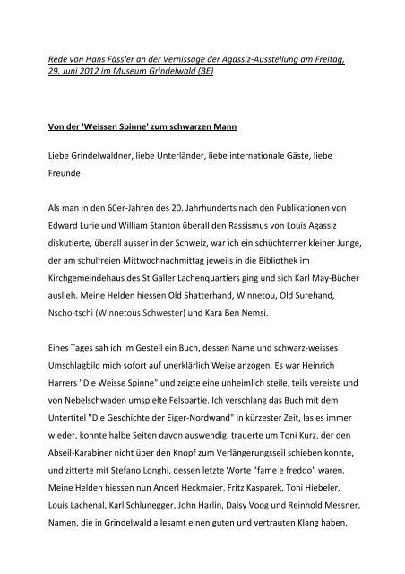 Rede Von Hans Fässler An Der Vernissage Vom 29 Louverturech