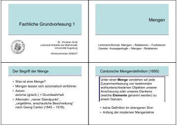 Mengen - am Institut für Mathematik der Universität Augsburg