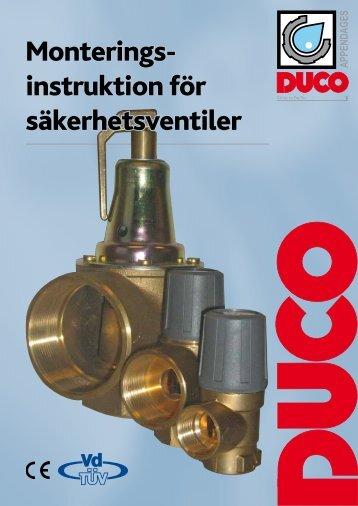 Monterings- instruktion för säkerhetsventiler - Duco