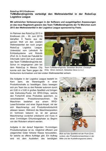TUMsBendingUnits verteidigt den Weltmeistertitel in der RoboCup ...