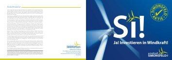 SI!Ja! Investieren in Windkraft! - Windkraft Simonsfeld