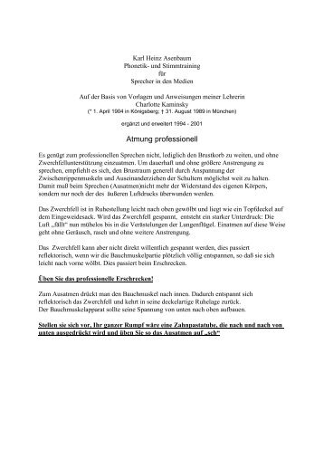 Atmung professionell - Euromultimedia Verlag Karl Heinz Asenbaum