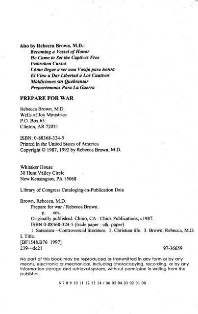 PREPARE FOR WAR By Rebecc
