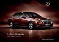 Preisliste Mercedes-Benz E-Klasse Limousine W212 vom 15.10.2009.
