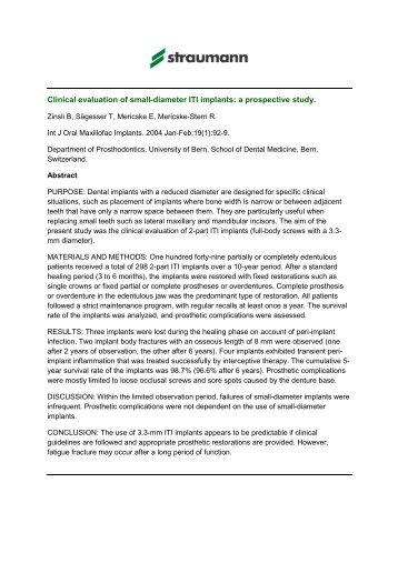 Abstracts [Frakturberichte von durchmesser reduzierten Implantaten ...