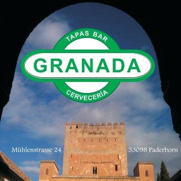 Speisekarte Tapasbar Granada