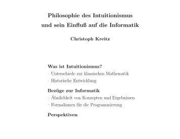 Philosophie des Intuitionismus und sein Einfluß auf die Informatik