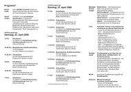 Programm* Samstag, 22. April 2006 Sonntag, 23. April 2006