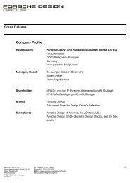 Press Release Company Profile - PORSCHE DESIGN Presseportal
