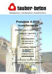 Preisliste 4-2013 - tauber-beton GmbH & Co KG