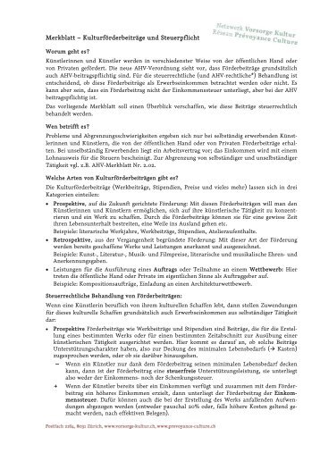 Merkblatt – Kulturförderbeiträge und Steuerpflicht - ACT