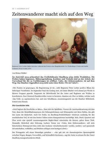 Aargauer Zeitung, 5. Dezember 2012 - Freilichttheater Staufberg