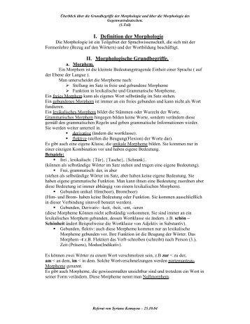 I. Definition der Morphologie II. Morphologische Grundbegriffe.