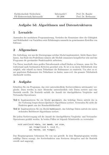 Aufgabe 5d: Algorithmen und Datenstrukturen 1 Lernziele 2 Allgemeines 3 Aufgabe