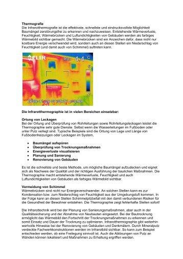 Thermografie Die Infrarotthermografie ist die effektivste, schnellste ...