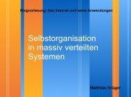 Selbstorganisation in massiv verteilten Systemen
