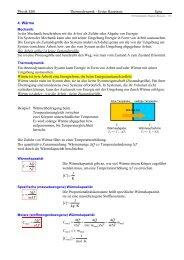 Physik EI01 Thermodynamik - Erster Hauptsatz Seite 4. Wärme In ...