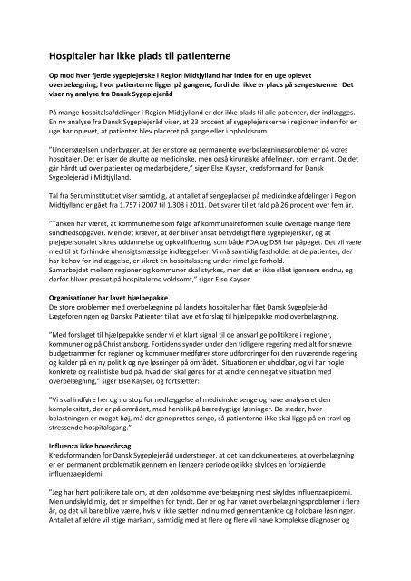 hent pressemeddelelse - Dansk Sygeplejeråd