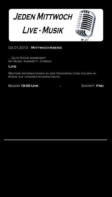 Jeden Mittwoch Live - Musik