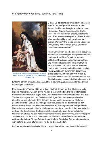 Die heilige Rosa von Lima, Jungfrau (gest. 1617) - Einsiedelei.at