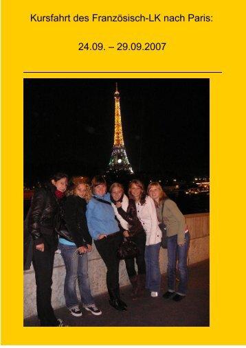 Kursfahrt des Französisch-LK nach Paris: 24.09. – 29.09.2007 - Archiv