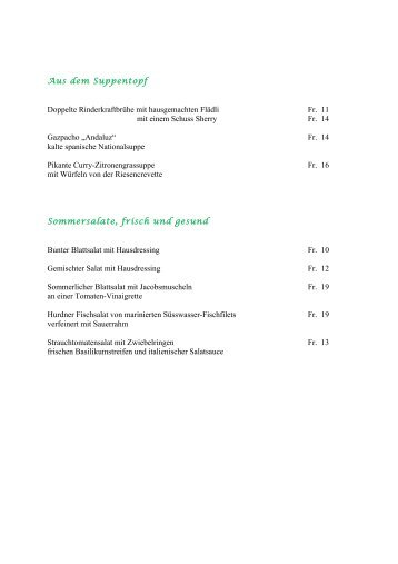Speisekarte runterladen - Restaurant Kreuz Hurden