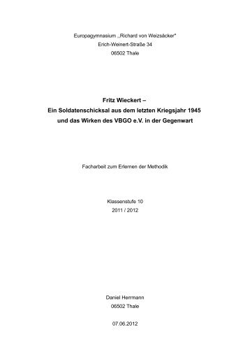 Fritz Wieckert - Verein zur Bergung Gefallener in Osteuropa