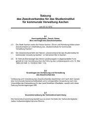 Satzung des Zweckverbandes für das Studieninstitut ... - Stadt Aachen