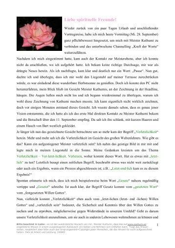 Verletzlichkeit 29. 9. 2005 - Kuthumi